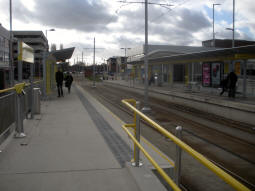 The platforms from just off the platform for trams to Manchester Airport