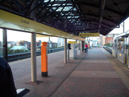 Looking towards Manchester along the platform for trams to Altrincham, St Werburgh's Road, Eccles and MediaCityUK