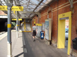 The ways out from the platform for trams to Altrincham