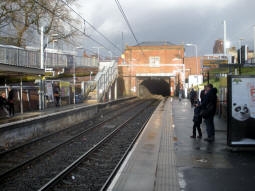 Looking along the platform for trams to Altrincham, East Didsbury and Manchester Airport