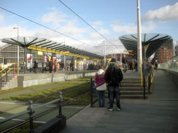 The platforms from by the platform only for trams via Cornbrook