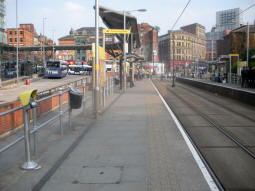 Looking along the platform for trams via Market Street