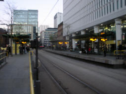 The platforms from the approach to the island for trams via Exchange Square, Market Street and Piccadilly Gardens