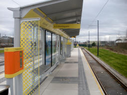 Looking along the platform for trams to Ashton-under-Lyne