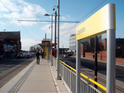 Looking along the platform for trams to Manchester from the Ashton-under-Lyne end