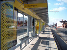 Looking along the platform for trams to Droylsden from the Droylsden end