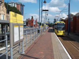 Looking away from the end of the line as a tram departs