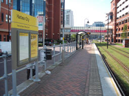 Looking towards MediaCityUK along the platform for trams to Eccles and MediaCityUK