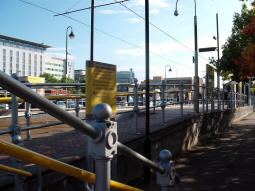 Looking up to the platform for trams to Eccles and MediaCityUK