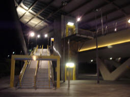 Stairs and lift to the platform for trams to Manchester