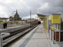 Looking along the platform for trams to Rochdale
