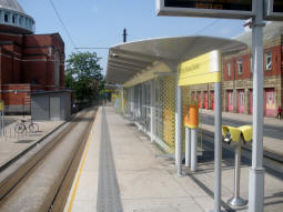 Looking along the platform for trams to Rochdale Town Centre
