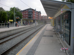 Looking along the platform for trams to East Didsbury