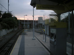 Looking towards the exits to St Werburgh's Road itself from the platform for trams to Manchester